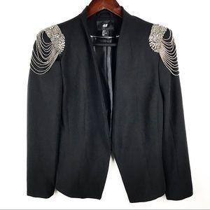 H&M Beaded Shoulder Black Crop Blazer Jacket 8
